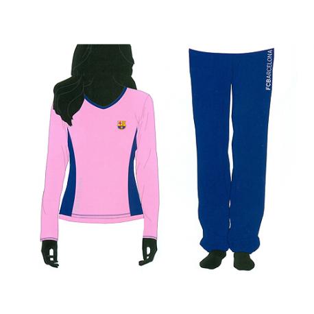 Pijama de mujer de manga larga del F.C.Barcelona.