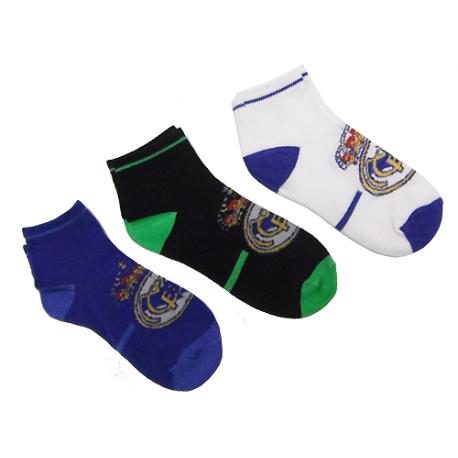 Pack de 3 calcetines para adulto del Real Madrid.
