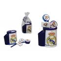 Set de papelería en cubilete del Real Madrid.