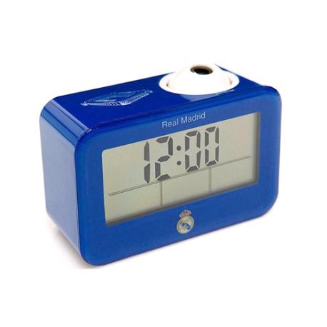 Reloj despertador proyector parlante del Real Madrid.