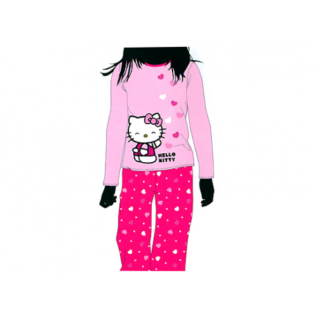 Pyjama junior hello kitty manches longues forofos - Robe de chambre hello kitty ...