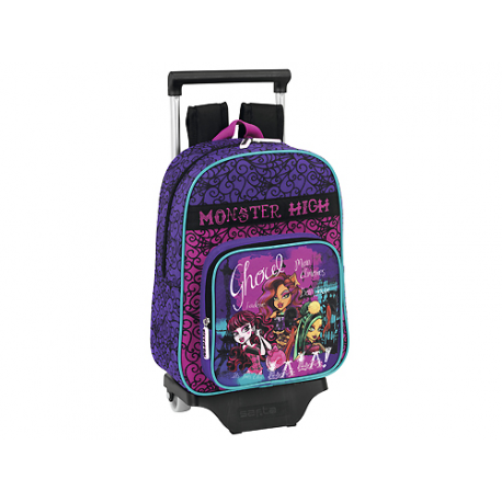 Mochila escolar infantil con ruedas de Monster High.