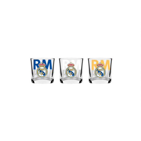 Estuche de 3 chupitos del Real Madrid.