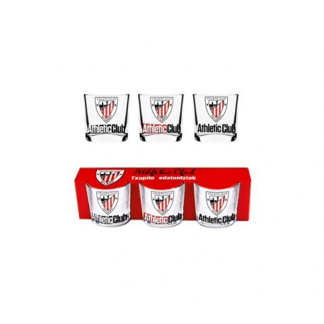 Set de 3 petit verre Athletic de Bilbao.