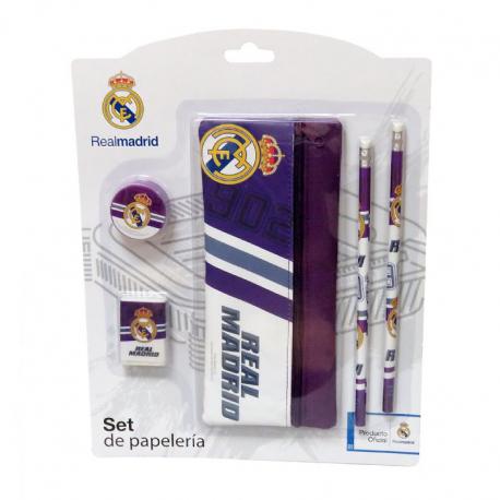 Set papelería 5 piezas del Real Madrid.
