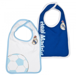 Pack de dos baberos para bebé del Real Madrid.