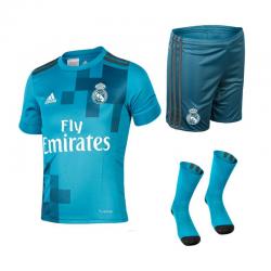 Conjunto niño 2ª equipación Real Madrid 2017-18.