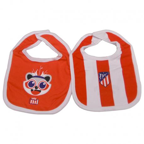Pack de dos baberos para bebé del Atlético de Madrid.