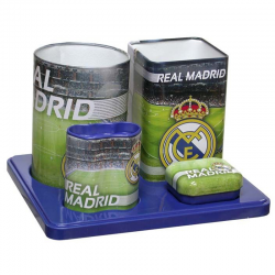 Set escritorio metal del Real Madrid.