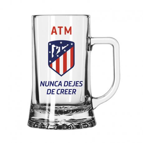 Jarra de cerveza grande del Atlético de Madrid.