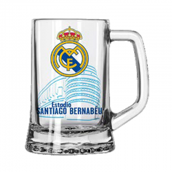 Jarra de cerveza grande del Real Madrid.