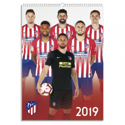 Calendario de pared 2019 del Atlético de Madrid.